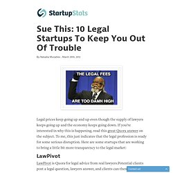 Sue This: 10 Legal Startups To Keep You Out Of Trouble - StartupStats