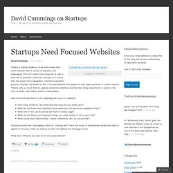 Startups Need Focused Websites