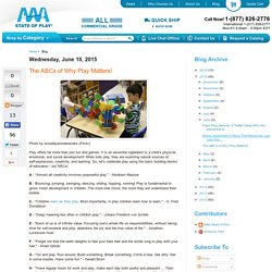AAA State of Play Blog: The ABCs of Why Play Matters!