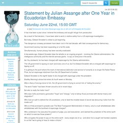 Statement by Julian Assange after One Year in Ecuadorian Embassy