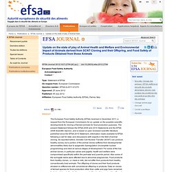 EFSA 05/07/12 Update on the state of play of Animal Health and Welfare and Environmental Impact of Animals derived from SCNT Clo