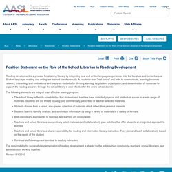 Position Statement on the Role of the School Librarian in Reading Development