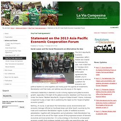 Statement on the 2013 Asia Pacific Economic Cooperation Forum