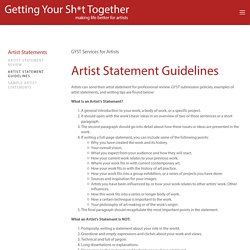 Artist Statement Guidelines — Getting Your Sh*t Together