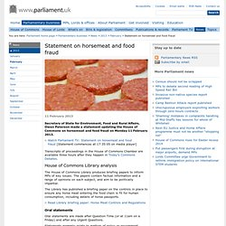 PARLIAMENT_UK 11/02/13 Statement on horsemeat and food fraud