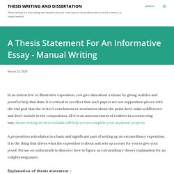 A Thesis Statement For An Informative Essay - Manual Writing
