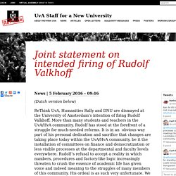 Joint statement on intended firing of Rudolf Valkhoff