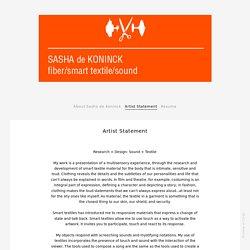 Artist Statement - de Koninck. Sasha. Portfolio.
