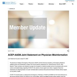 // ACEP-AAEM Joint Statement on Physician Misinformation