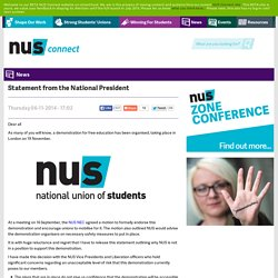 Statement from the National President @ NUS connect