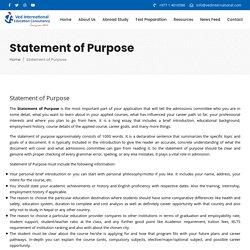 » Statement of Purpose