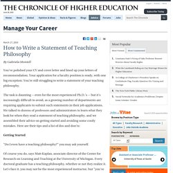 How to Write a Statement of Teaching Philosophy - Manage Your Career