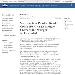 Statement from President Barack Obama and First Lady Michelle Obama on the Passing of Muhammad Ali