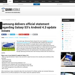 Samsung delivers official statement regarding Galaxy S3′s Android 4.3 update issues