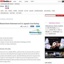 Rimini Street Statement on U.S. Appeals Court Ruling - Press Releases News - Webindia123.com