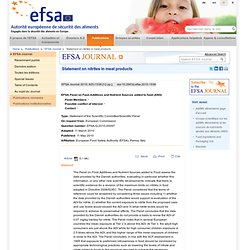 EFSA 11/05/10 Nitrites in meat products