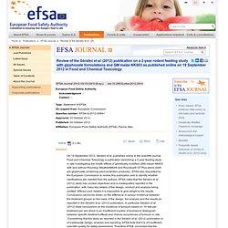 Statement of EFSA: Review of the Séralini et al. (2012) publication