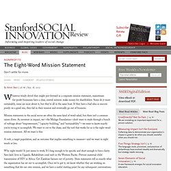 The Eight-Word Mission Statement
