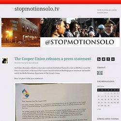 The Cooper Union releases a press statement | stopmotionsolo.tv