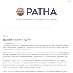 PATHA - Statement in support of AusPATH (see para 3 in main article - refers to 'reparative therapy')