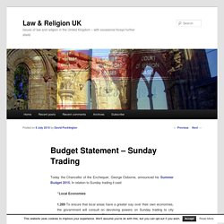 Budget Statement – Sunday Trading