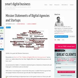 Mission Statements of Digital Agencies and Startups