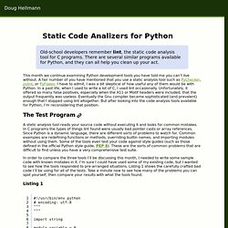 Static Code Analyzers for Python - Doug Hellmann