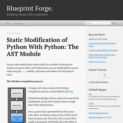 Static Modification of Python with Python: the AST Module - Blueprint Forge.