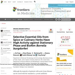 FRONT. MED. 11/10/17 Selective Essential Oils from Spice or Culinary Herbs Have High Activity against Stationary Phase and Biofilm Borrelia burgdorferi