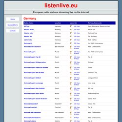 German radio stations streaming live on the internet