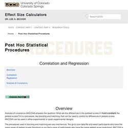 Post Hoc Statistical Procedures