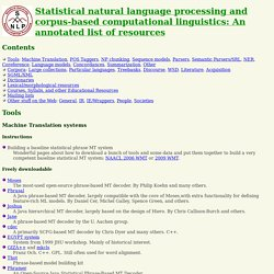 Statistical Natural Language Processing resource list (via Stanford University)