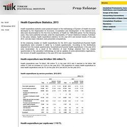Turkish Statistical Institute Health Expenditure Statistics 2013