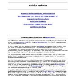 Statistical mechanics: the Riemann zeta function interpreted as a partition function