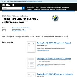 Taking Part 2013/14 quarter 3 statistical release