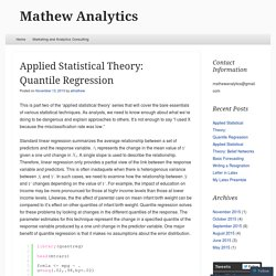 Applied Statistical Theory: Quantile Regression
