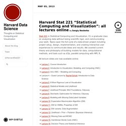 "Harvard Stat 221 ""Statistical Computing and Visualization"": all lectures online by Harvard Data Science"