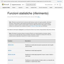 Funzioni statistiche (riferimento) - Supporto di Office