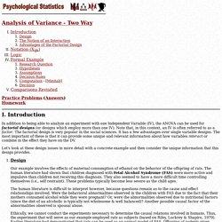Psych. Statistics: Two way analysis of variance (ANOVA).