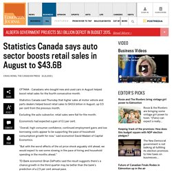 Statistics Canada says auto sector boosts retail sales in August to $43.6B