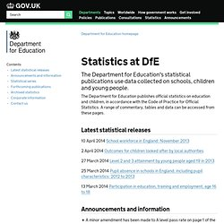 Statistics at DfE - Department for Education