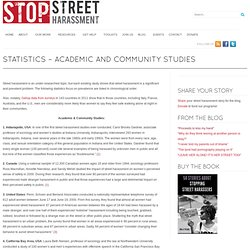 Statistics – Academic and Community Studies- Stop Street Harassment