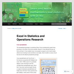 Excel in Statistics and Operations Research