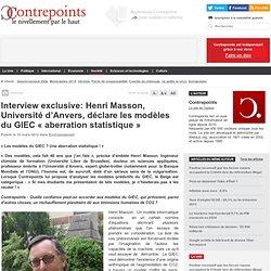 """Henri Masson de l'Université d'Anvers déclare les modèles du GIEC """"aberration statistique"""""""
