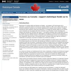 Femmes au Canada : rapport statistique fondé sur le sexe : Introduction