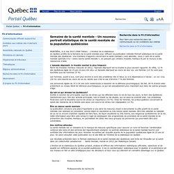 QUEBEC / Portrait statistique de la santé mentale de la population québécoise
