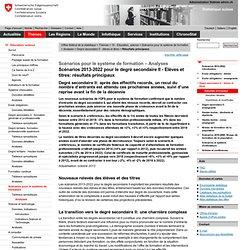 Scénarios 2012-2021 pour le degré secondaire II - Elèves et titres: Résultats principaux