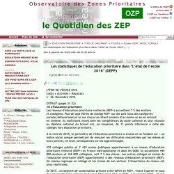 """Les statistiques de l'éducation prioritaire dans """"L'état de l'école 2016""""(...) - - OZP - Observatoire des Zones Prioritaires"""