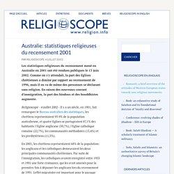 Australie: statistiques religieuses du recensement 2001 – Religioscope