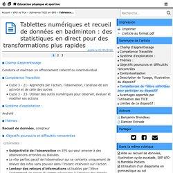 Tablettes numériques et recueil de données en badminton : des statistiques en direct pour des transformations plus rapides- Éducation physique et sportive